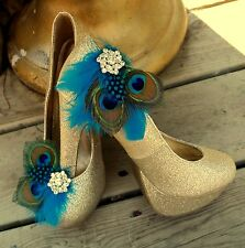 Shoe Clips Feather bridal shoe clips peacock turquoise teal engagement party