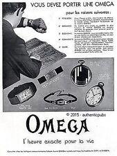 PUBLICITE OMEGA MONTRE BRACELET GOUSSET HOMME FEMME DE 1931 FRENCH AD PUB RARE