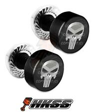 2 Black Billet Aluminum License Plate Frame Tag Bolts - PUNISHER SKULL SB 2G4