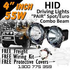 HID Xenon Driving Lights - Pair 4 Inch 55w Spot/Euro Beam Combo 4x4 4wd Off Road