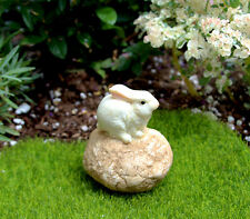 CUTE! FAIRY GARDEN MINIATURE Bunny Rabbit Sitting on a Stone Figurine #TLT4147