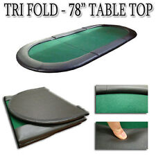 "New Oval Padded Green Tri-Fold Poker Table Top Folding 78""x35"" With Carry Bag"