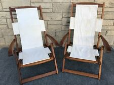 Pair of Solid Teak Wood Adjustable Folding Deck Patio Arm Chairs