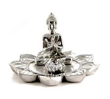 Silver Coloured Thai Buddha Sat On A Lotus Flower Incense Holder (R100)