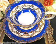 ROYAL STAFFORD TEA CUP AND SAUCER BLUE BANDS & GOLD GARLAND SWAGS TEACUP