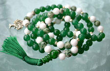 Green White Jade Tree Agate Beads Mala, Tree Of Life, Healing Yoga Necklace Japa