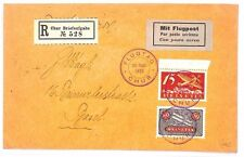 AR177 1923 SWITZERLAND Chur Breifaufgabe to Basel Registered Airmail Cover