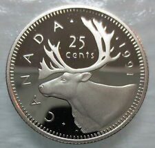 1991 CANADA 25 CENTS PROOF QUARTER COIN