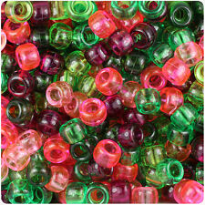 500 Watermelon Transparent 9x6mm Barrel Pony Beads Made inthe USA by The Beadery