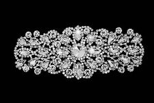 Diamante Motif Applique Rhinestone Sew on Wedding Silver Crystal Patch A138