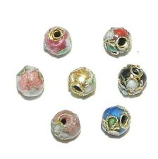 CL173p Assorted Color with Gold 5mm Round Enamel on Metal Cloisonne Beads 24/pkg