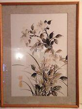 BELLISSIMO giapponese vintage colore acqua firmato Pittura su carta di riso