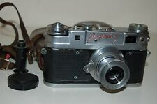 Zorki-5 RED NAME Soviet Rangefinder Camera and Industar Lens. 5813243. UK Sale.