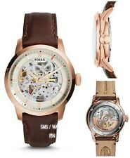 FOSSIL MEN'S LEATHER AUTOMATIC ROSE GOLD DETAIL WATCH ME3078