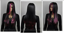 Latest ! Mixed black and red long straight wig + wig cap