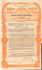 Lincoln Club of Pittsburgh   Mechanics Temple Pennsylvania gold bond certificate