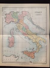 ITALY AFRICA Geography Country Map Colour History 1885 Antique Original Print