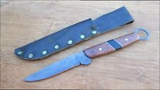 Vintage Custom-made Hunting/Trapper Knife w/Carbon Steel/Inlaid Ipe Wood Handle