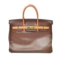 Authentic Vintage Hermes 35cm Birkin Bag in Dual Tone Chocolate and G... Lot 173