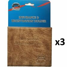 "3 Tan CAR INSURANCE REGISTRATION HOLDER WALLET 5.25""x4.6"" Embossed Faux-Leather"