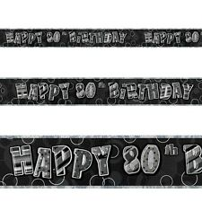 12ft Happy 80th Birthday Black Sparkle Prismatic Party Foil Banner Decoration