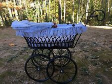Vtg German Wicker Baby Doll Carriage Hand Made in Germany ATELIER EVELYN