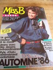 MAGAZINE BURDA MISS B JEANS AVEC MOTIFS STYLE CLUB LE GRIS AUTOMNE   1986