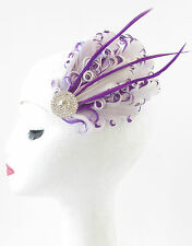 Purple & White Feather Fascinator Hair Clip Headpiece Vintage Silver 1920s S82