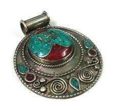 Tibetan Turquoise With Red Coral 925 Silver Overlay Pendant
