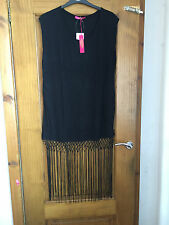 Sexy Black fringed beach dress/cover up - PLUS SIZE 24 - BNWT - kaftan/tassle