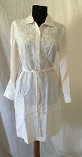 Talbots Off White Applique Beaded Belted Tunic Shirt Dress Size 6P - So Pretty!