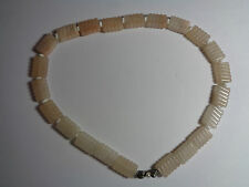 VINTAGE ROSE QUARTZ NECKLACE  & STERLING SILVER BOW CLASP WITH SEED PEARL