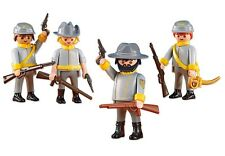 Playmobil 4 CONFEDERATE CAVALRY SOLDIERS - Western General South NEW 6275 6276