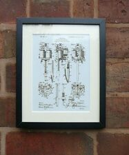 "USA Patent vintage early TATTOO MACHINE Mounted Matted PRINT 10"" x 8"" 1904"