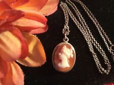 "800 Silver Edwardian Gold Hallmarked Carved Cameo Pendant W/ Original 15"" Chain"