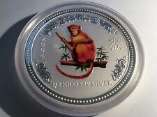 2004 1/2 kilo Silver Year of the Monkey (Series I) Colorized