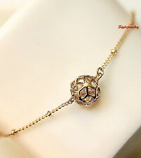 18k Rose Gold Filled Clear Swarovski Crystal Women's Filigree Ball Bracelet T4