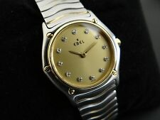 Beautiful EBEL Classic Wave Ladies Watch~SS & 18K Solid Gold~Diamond Dial~WOW!