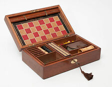 An Antique Mahogany Games Box with Steeplechase Draughts etc - Victorian