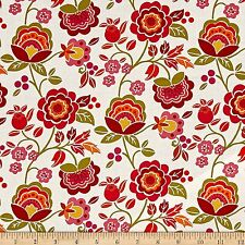 Intrigue Cotton Fabric  Floral  on Coral Marcus Brothers  BFab