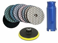 "4"" Diamond DRY Polishing Pad 10+1 Piece 2"" Core Drill Bit Granite concrete stone"
