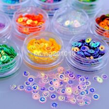 12 Laser Colors 3D Glitter Nail art Sequins Decals Nail Decoration Tools Round