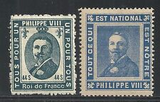 France stamps 2 Propaganda Cinderellas Philippe VIII  Roi de France  MLH  VF