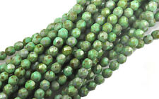 100 Turquoise Picasso Faceted Round Glass Beads 4MM