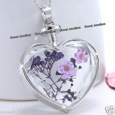 BLACK FRIDAY DEAL - Purple Flower & Silver Heart Necklace Xmas Gift For Her SALE