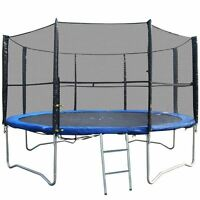 12FT REPLACEMENT 8 POLE TRAMPOLINE SAFETY NET ENCLOSURE SURROUND OUTDOOR