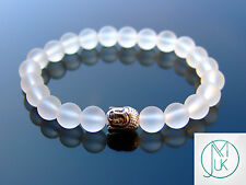 Buddha Frosted Rock Crystal Natural Gemstone Bracelet 7-8'' Elasticated Healing