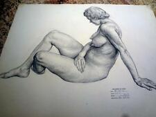 Harry A Davis, ART, Listed Artist. Charcoal Drawing on paper -  Nude Model. 1938