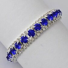 Silver Jewelry Womens White Gold Filled Blue Sapphire Crystal Tennis Bracelet