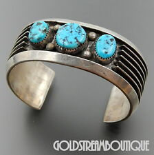 NAVAJO ARTS & CRAFTS GUILD STERLING SILVER TURQUOISE CONTEMPORARY CUFF BRACELET